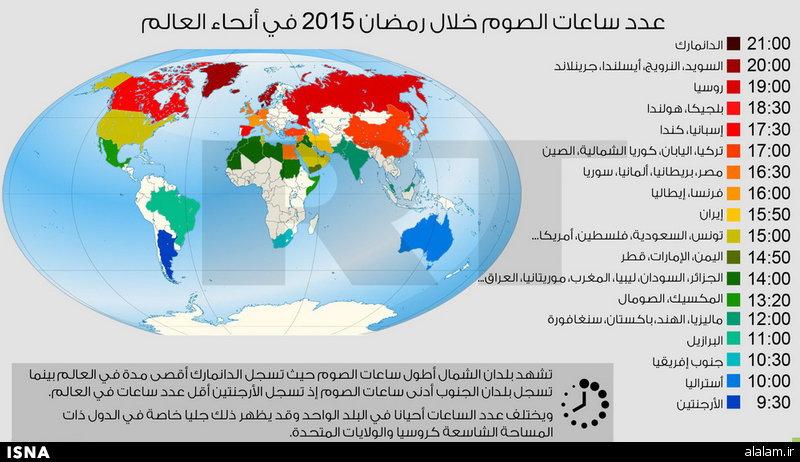 مسلمانان در کشورهای مختلف جهان چند ساعت روزه می گیرند