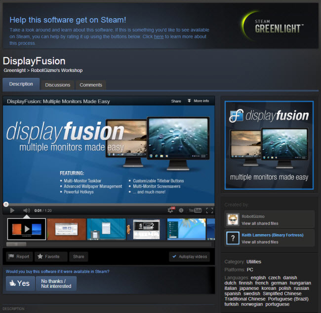 استفاده از چند نمایشگر برای یک کامپیوتر DisplayFusion Pro