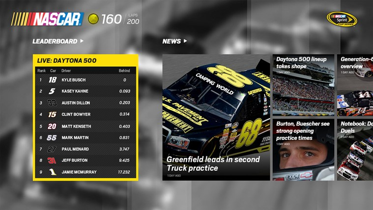 The Official NASCAR App for Windows 8