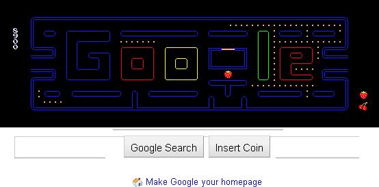 بازی نقطه خور PacMan به صورت آنلاین در گوگل Google